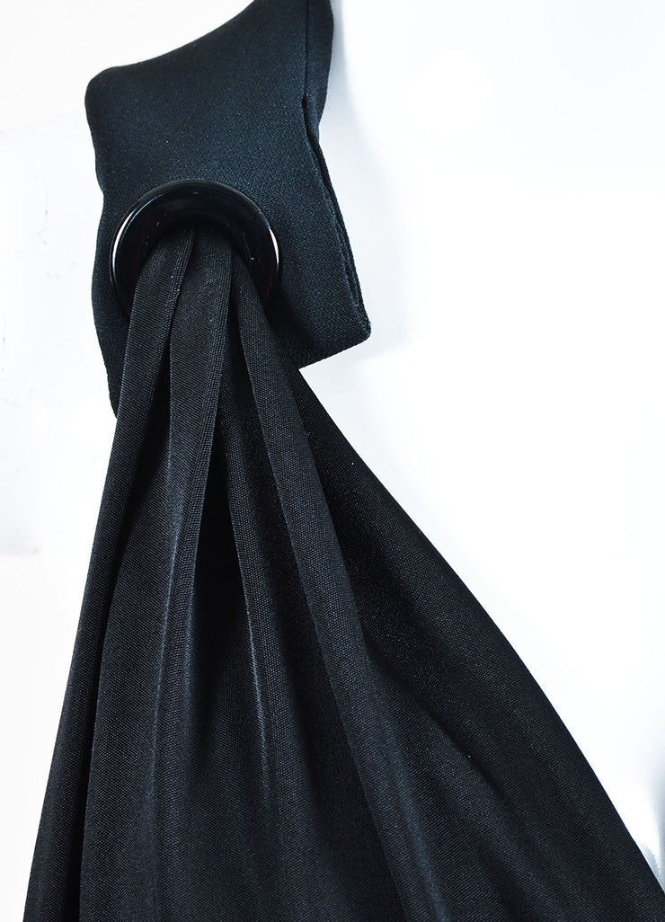 Mugler Black Jersey Draped Plunging V-Neck Sleeveless Cocktail Dress Detail