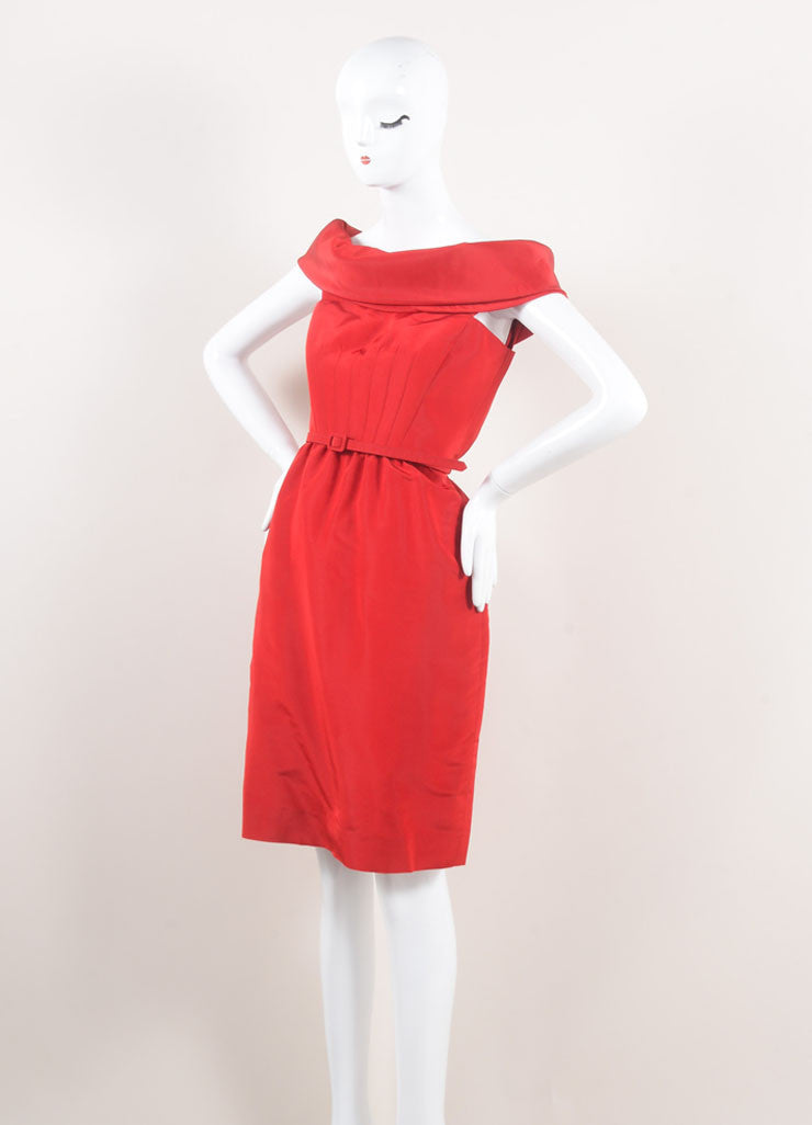 Oscar de la Renta New With Tags Red Off Shoulder Silk Faille Sheath Dress Sideview