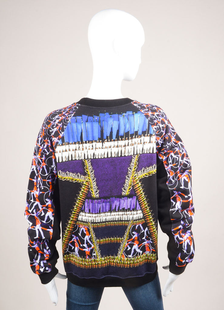 "Peter Pilotto New With Tags Multicolor Abstract Print ""Top Ruc"" Fleece Pullover Backview"