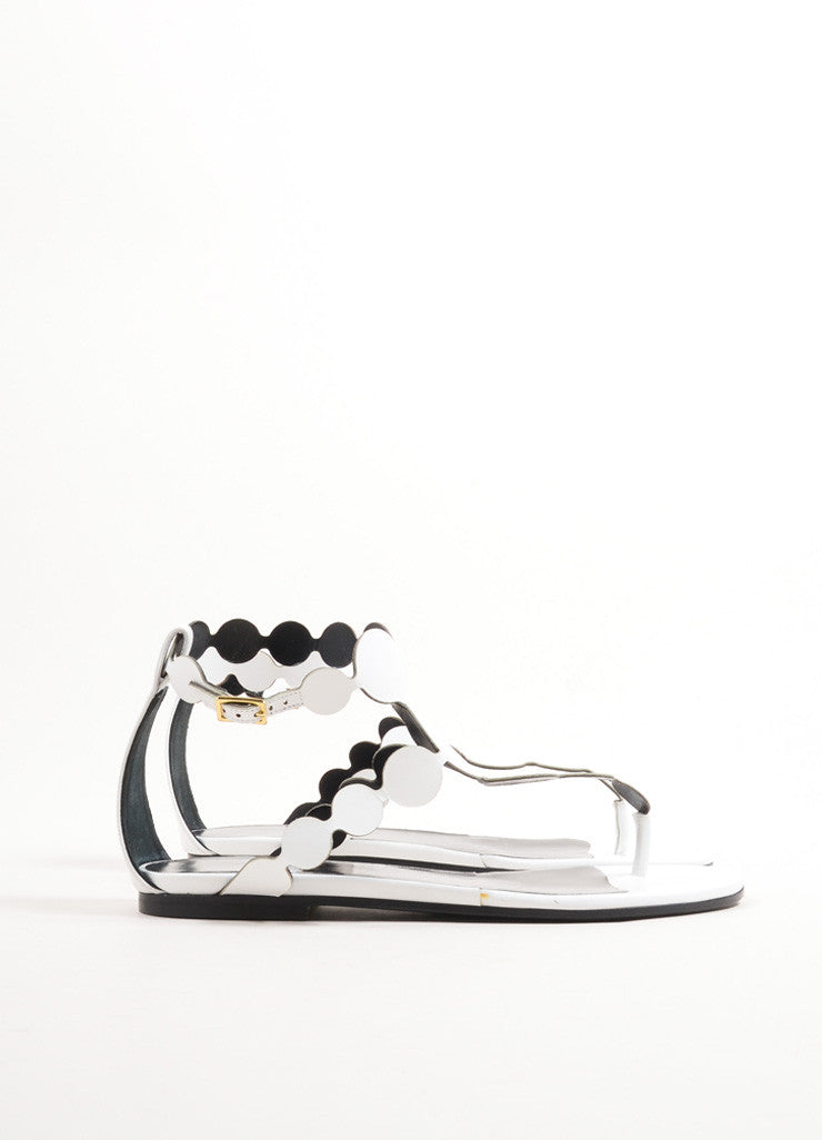 Pierre Hardy White Calf Leather Metallic Circle Flat Thong Sandals Sideview