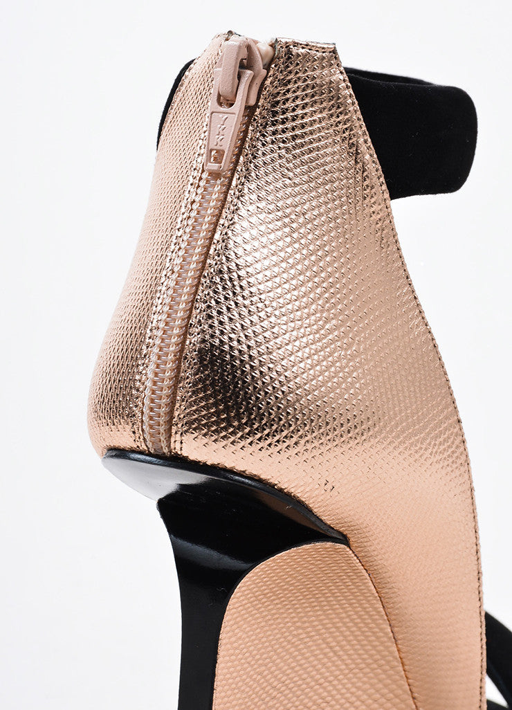 "Pierre Hardy Black and Rose Gold Leather ""Amanda"" Wedge Sandals Detail"