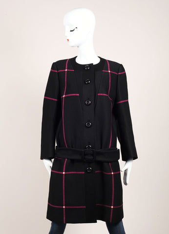 Prada Black and Raspberry Plaid Belted Collarless Long Wool Coat Frontview
