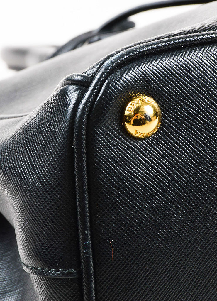 "Prada Black Saffiano Leather ""Small Double Zip Tote"" Bag Detail"