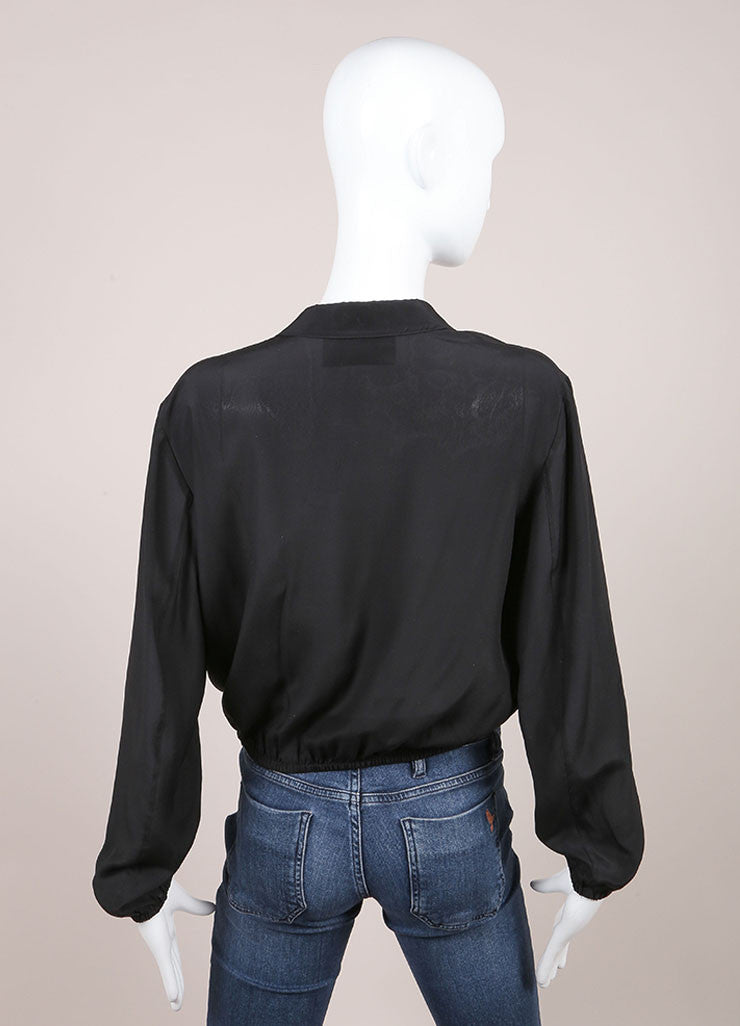 Prada Black Silkly Ruffle Trim Cropped Long Sleeve Top Backview