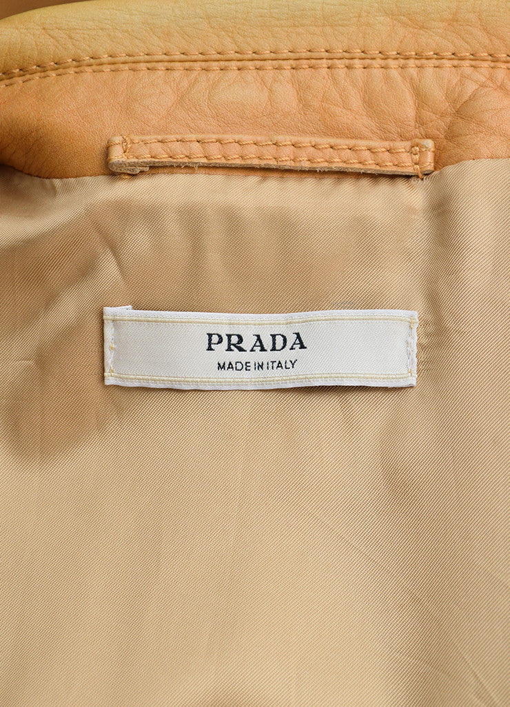 Prada Tan Leather Long Jacket Brand