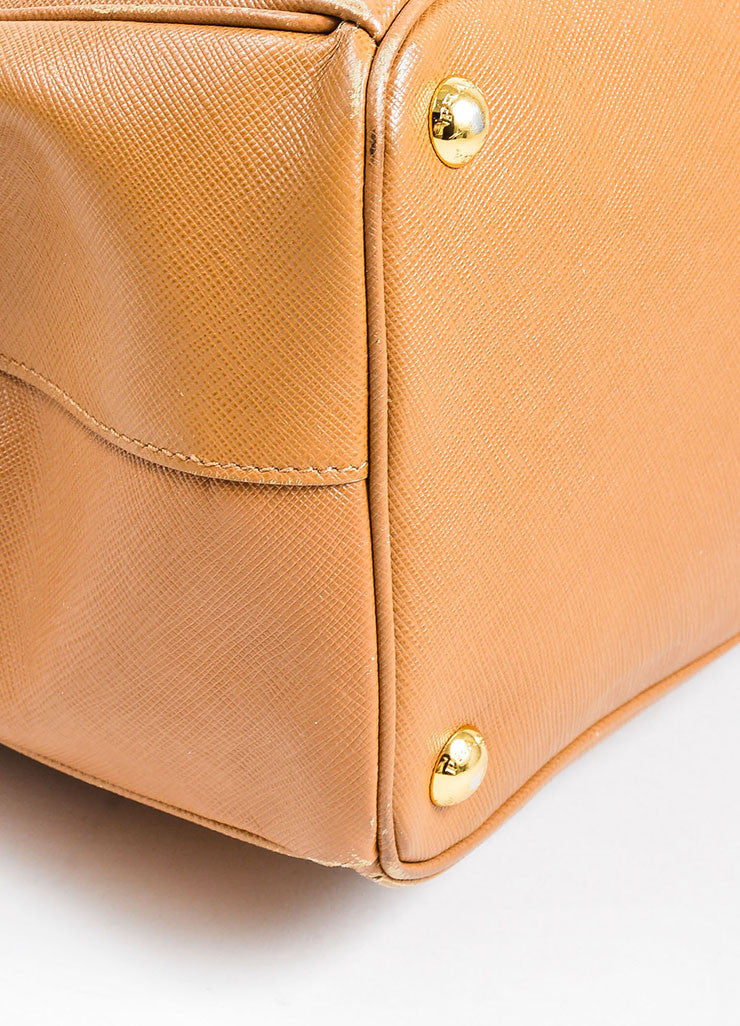 "Prada Tan Leather ""Saffiano Lux Gardener's"" Dual Compartment Tote Bag Detail"