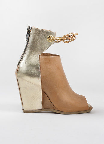 "Rick Owens Tan and Gold Toned Leather Peep Toe Cut Out Wedge ""Peron"" Booties Sideview"