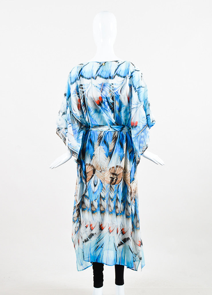 Roberto Cavalli Blue Silk Knit Feather Belted Caftan Backview