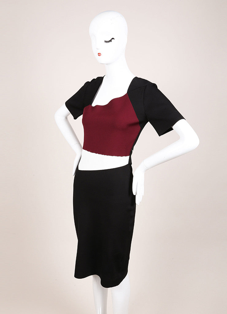 "Roland Mouret New With Tags Black, White, and Maroon Stretch Bodycon ""Cassida"" Dress Sideview"