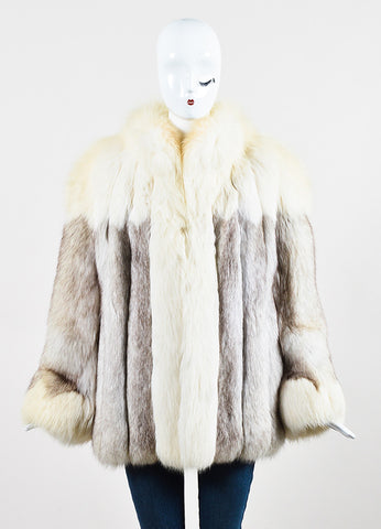 Saga Fox Cream Gray Blue Fox Paneled Color Block Fur Coat  Frontview 2