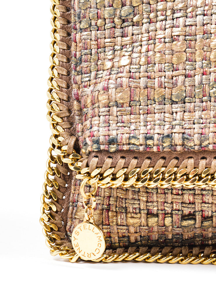 "Stella McCartney Metallic Gold and Brown Tweed ""Boucle Falabella"" Foldover Clutch Bag Detail 2"