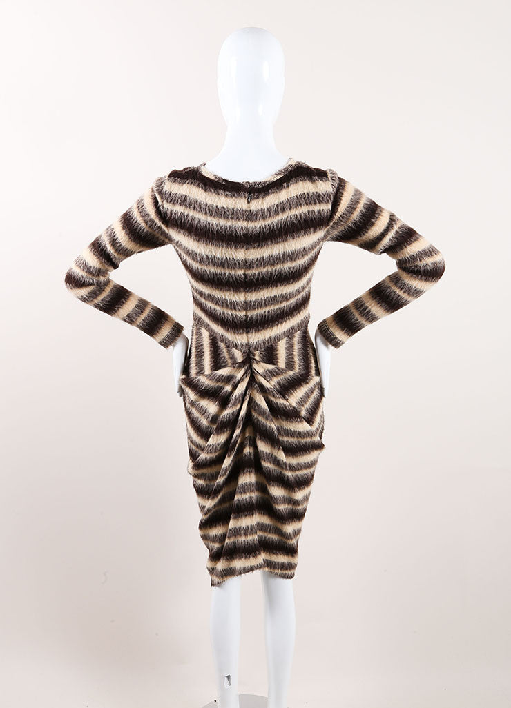 Thakoon New With Tags Tan, Brown, and Grey Woolen Knit Stripe Draped Sweater Dress Backview