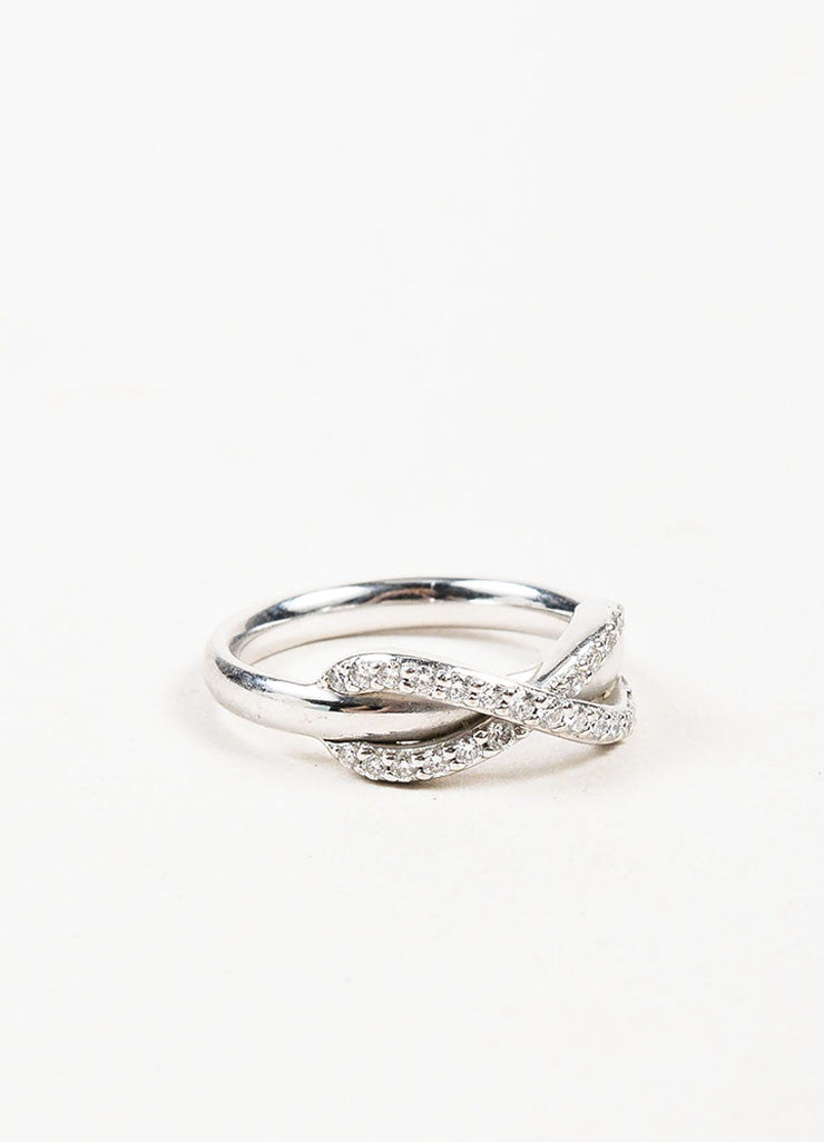 "Tiffany & Co. 18K White Gold Pave Diamond ""Infinity"" Ring Sideview"