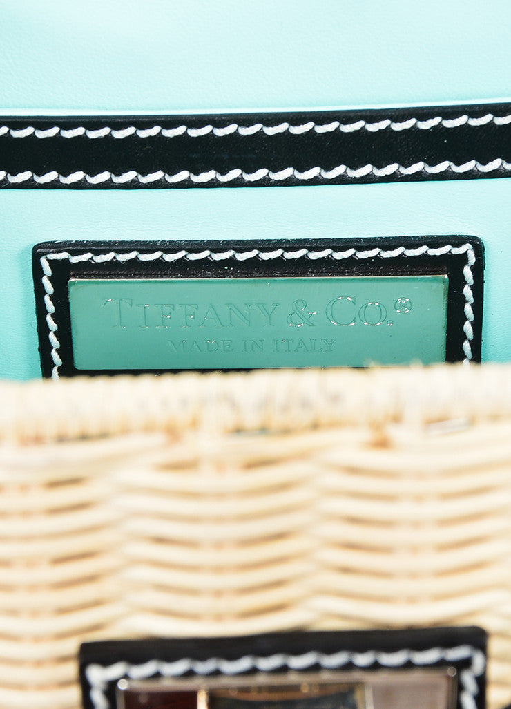 "Beige Woven Wicker and Black Leather Tiffany & Co. ""Blaine"" Convertible Clutch Bag Brand"