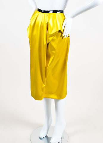 Toga Yellow Silk Patent Trim Pleated Midi Pencil Skirt Sideview