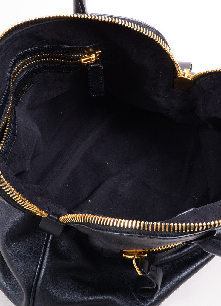 Tom Ford Black Leather and Gold Toned Hardware Bowler Bag Interior