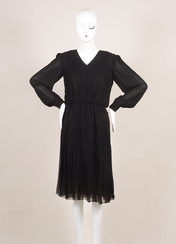 Vintage Bill Blass Black Pleated Elastic Waist Long Sleeve Dress Frontview
