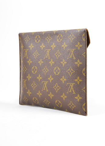 "Louis Vuitton Brown Monogram Canvas ""Poche Plate 30"" Envelope Clutch Bag Backview"