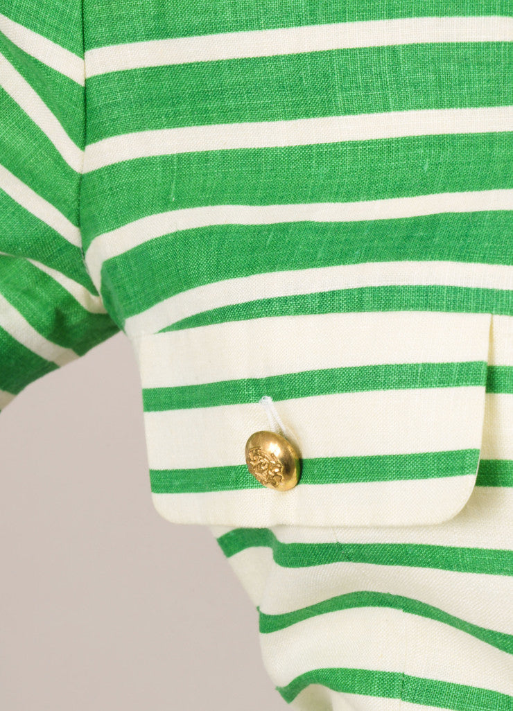 Nipon White and Green Striped Linen Button Up Short Sleeve Dress Detail