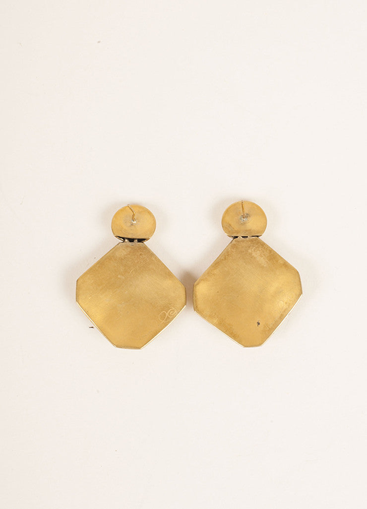Vaubel Gold Toned and Black Geometric Cut Out Earrings Backview