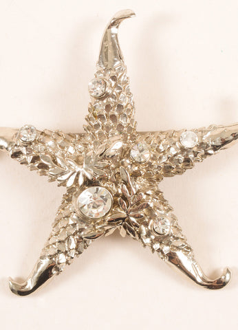 Versace Silver Toned and Clear Rhinestone Embellished Starfish Pin Brooch Detail