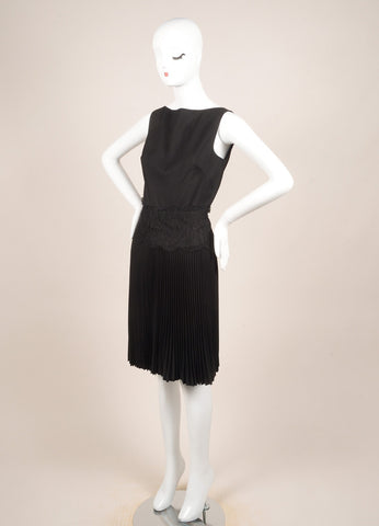 Valentino Techno Couture Black Wool Sleeveless Floral Lace Pleated Dress Sideview