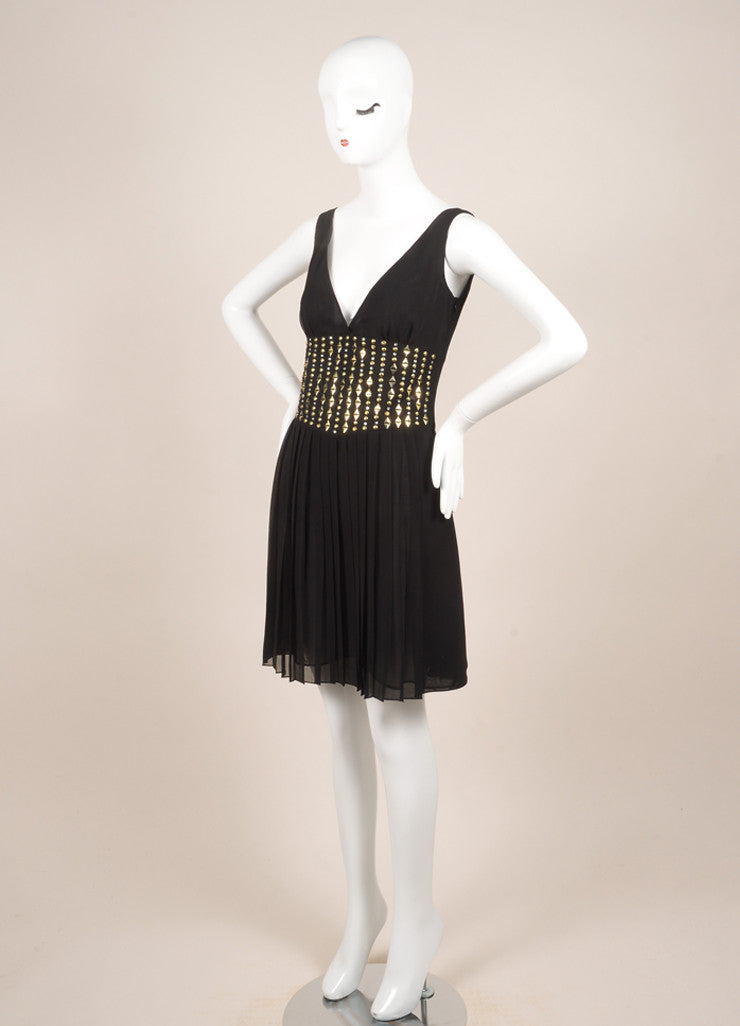 Versace New With Tags Black and Gold Chiffon Studded Pleated Dress Sideview