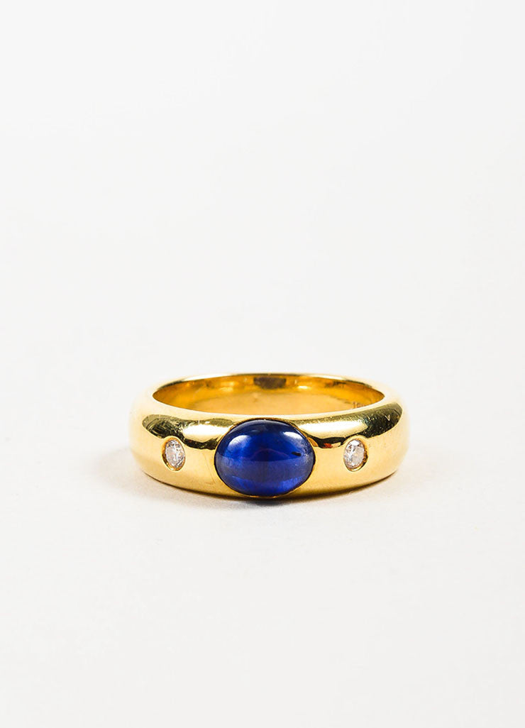 18K Yellow Gold, Oval Sapphire, and Diamond Ring Frontview