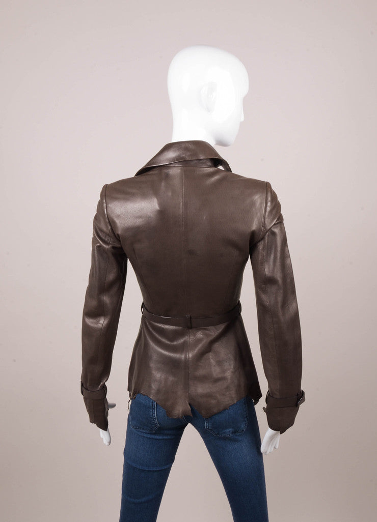 Brown Belted Leather Jacket With Unfinished Hem