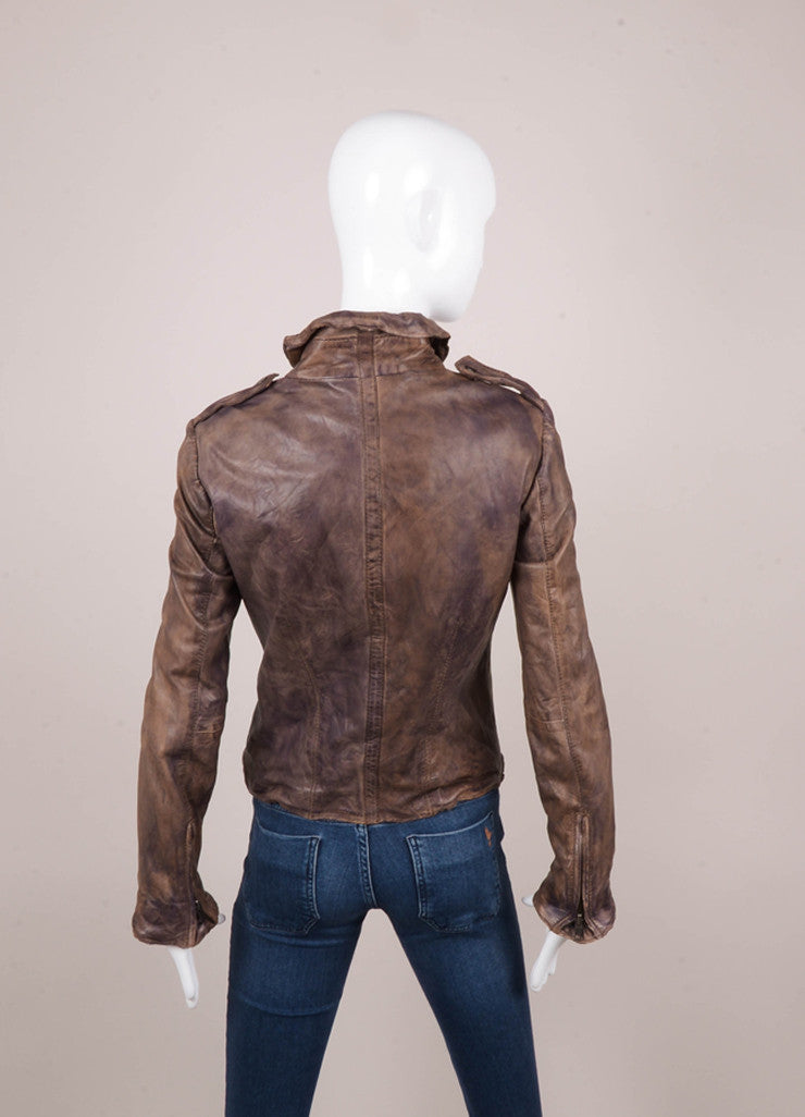 Dark Brown Distressed Zippered Leather Jacket