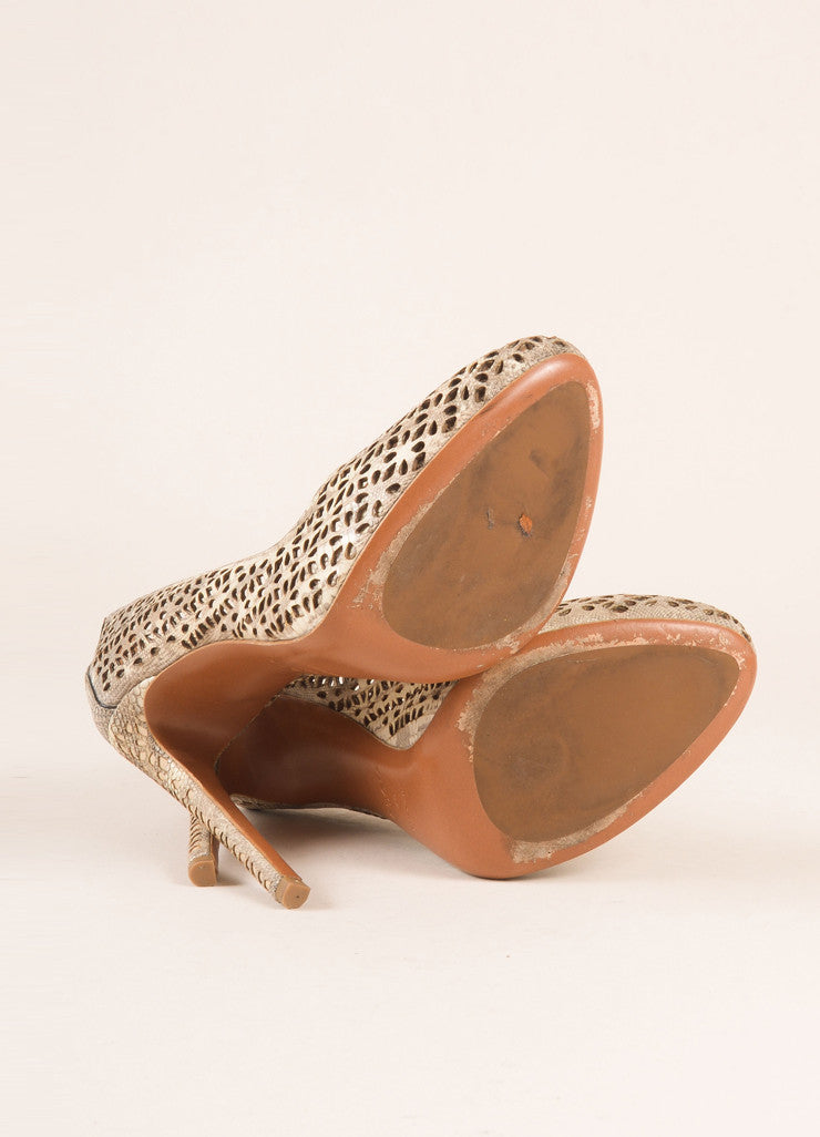 Alaia Taupe Lizard Leather Round Toe Cut Out Pumps Outsoles