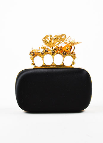 Alexander McQueen Black Satin Gold Toned Crystal Butterfly Knuckle Clutch Bag Frontview
