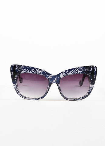 "Anna Karin Karlsson Black and Clear Lace ""Alice Goes to Cannes"" Cat Eye Sunglasses Frontview"