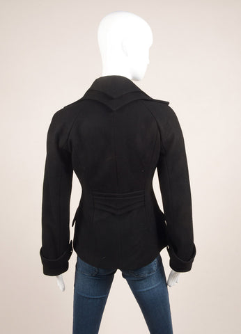 Anne Fontaine Black Layered Collar Jacket Backview