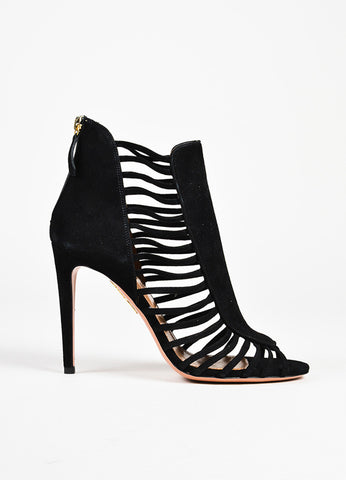 Aquazzura Black Suede Caged Zip Up Peep Toe Booties side