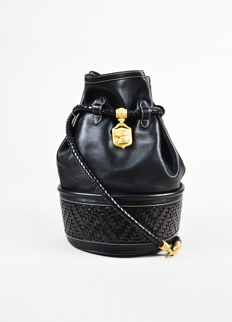 Barry Kieselstein-Cord Black Woven Leather Dog Charm Bucket Bag Front