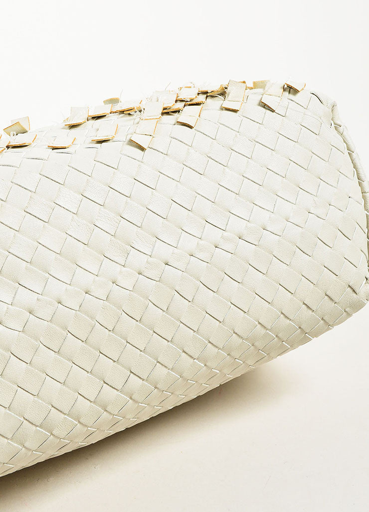 "Bottega Veneta White Woven Leather Fringed ""Olimpia Tobu"" Shoulder Bag Bottom View"
