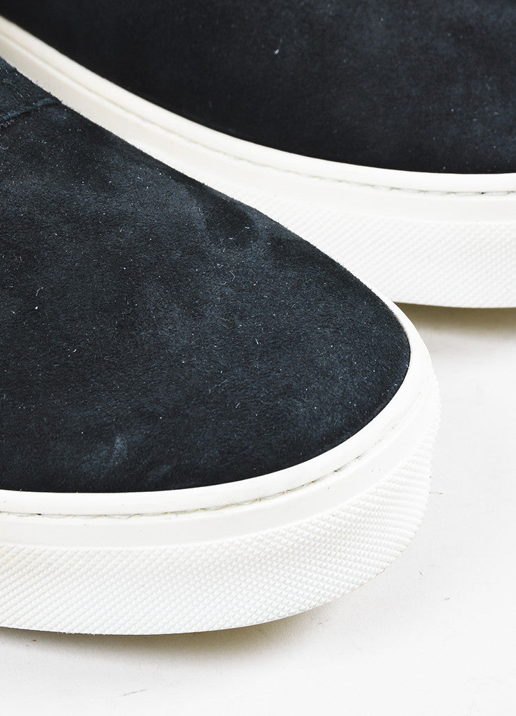 Celine Black Suede Shearling Lined Zipper High Top Sneaker Boots Detail