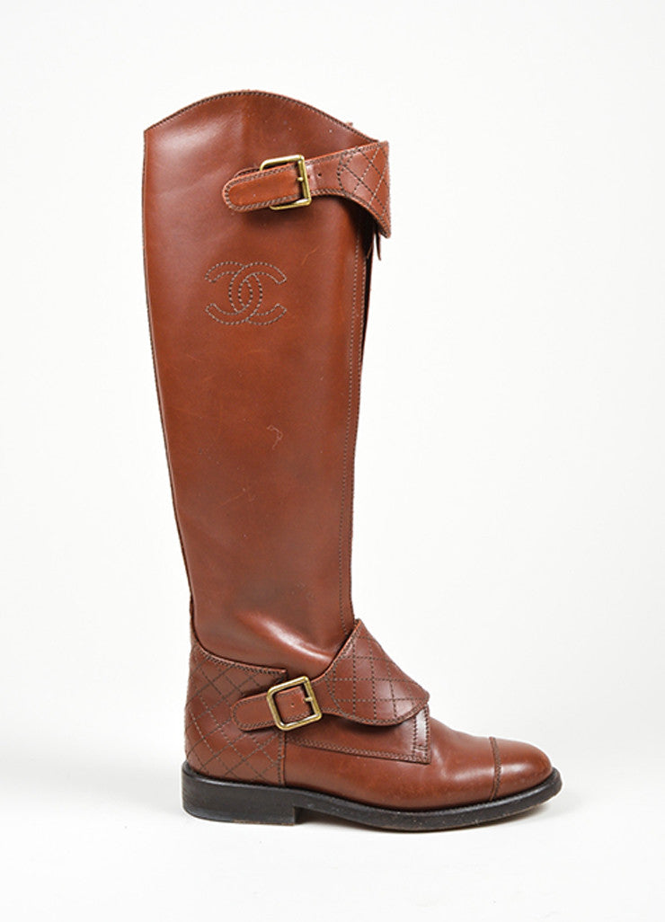 Brown Chanel Leather Stitched 'CC' Logo Riding Boots Sideview
