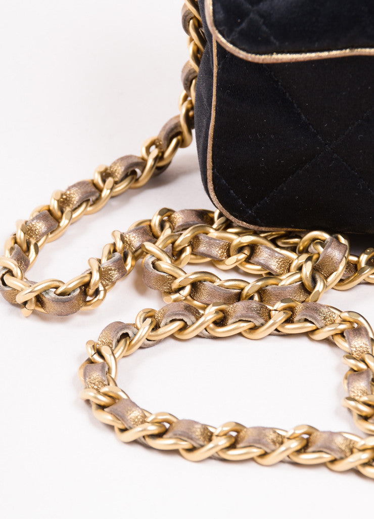 "Chanel Black and Gold Toned Satin Quilted Chain Strap ""CC"" Flap Cross Body Bag Detail 2"