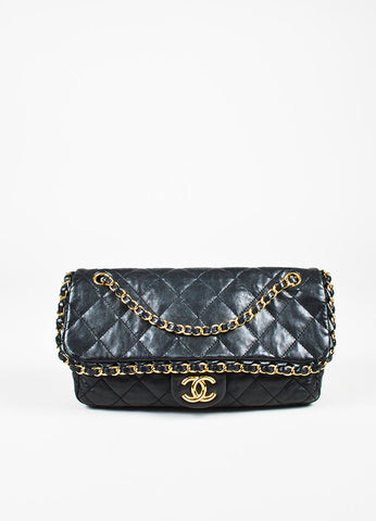 "Chanel Black Lambskin Leather Gold Toned ""Chain Me"" Classic Shoulder Bag frontview"