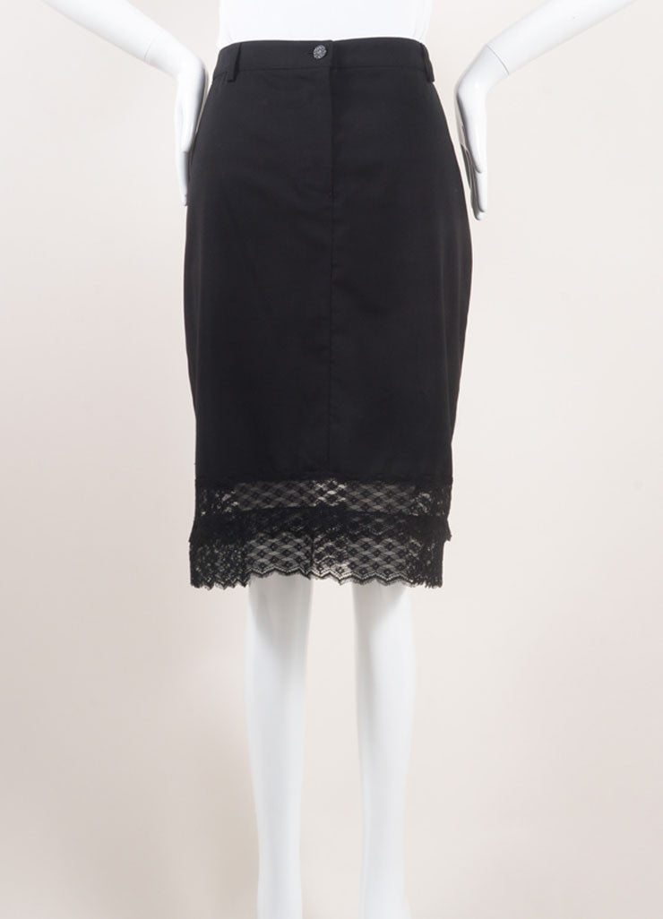 Chanel Black Wool Lace Trim Skirt Frontview
