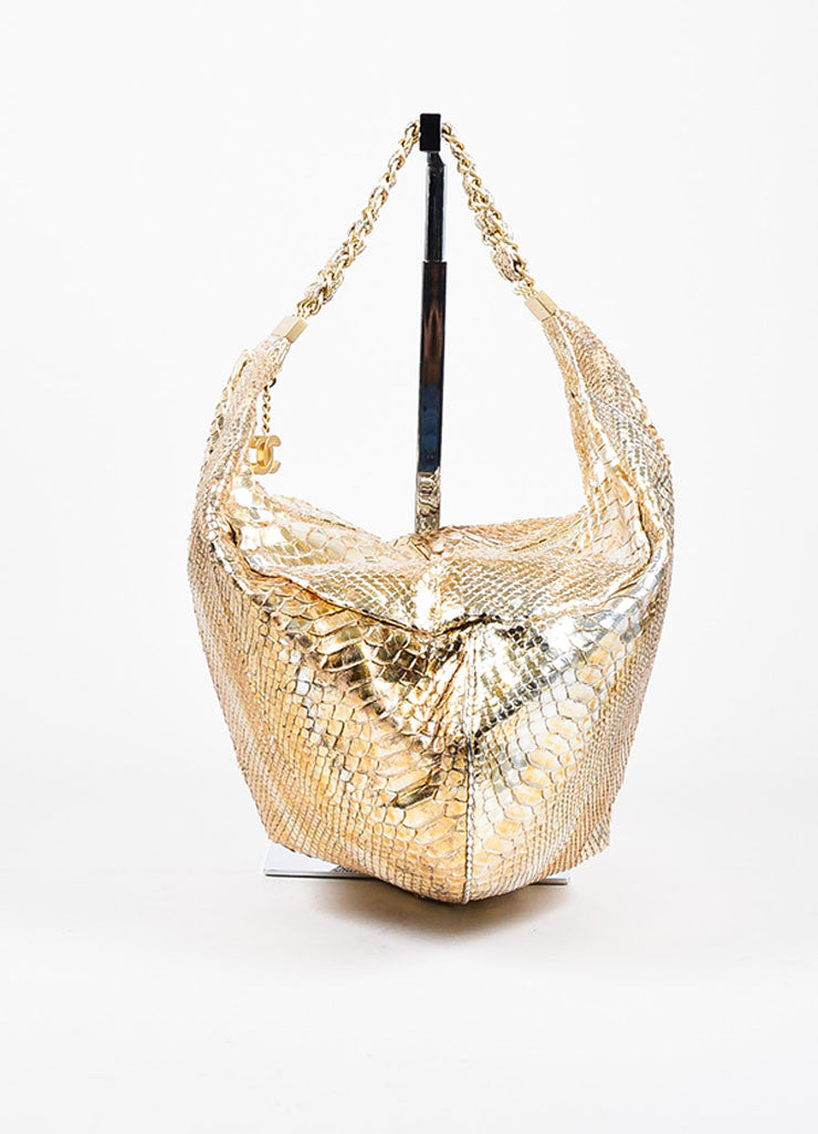"Gold Chanel Metallic Python ""Rock and Chain"" Hobo Bag Front"