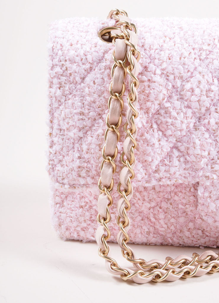 "Chanel Light Pink and Gold Toned Quilted Tweed Chain Strap ""CC"" Double Flap Bag Detail 2"
