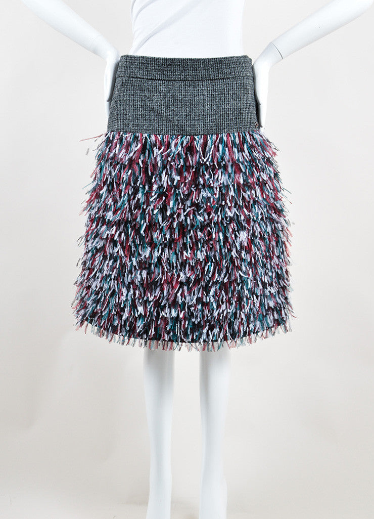 Chanel Grey, Green, and Red Wool Ostrich Feathers Skirt Frontview