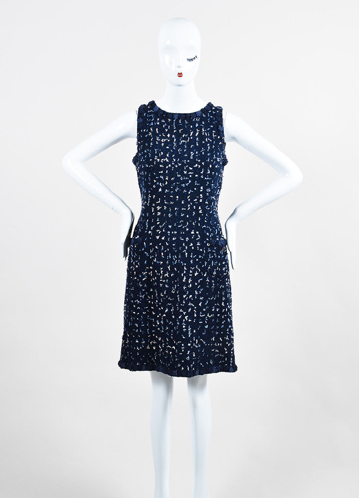 Navy Blue Chanel Tweed Confetti Embellished Sleeveless Shift Dress Frontview