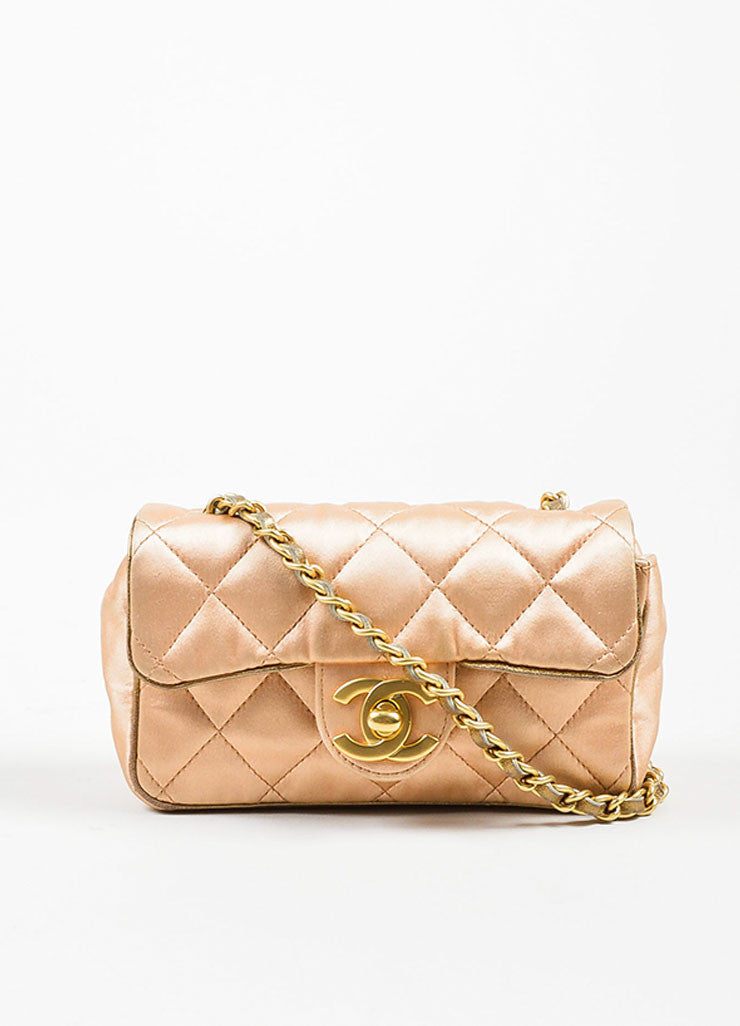 Pink, Pewter, and Gold Toned Chanel Satin and Leather Mini Classic Quilted Flap Evening Bag Frontview
