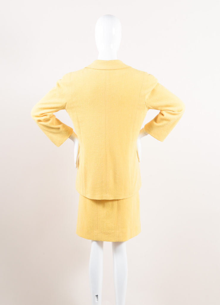 Chanel Yellow Wool Knit Jacket and Skirt Suit Backview