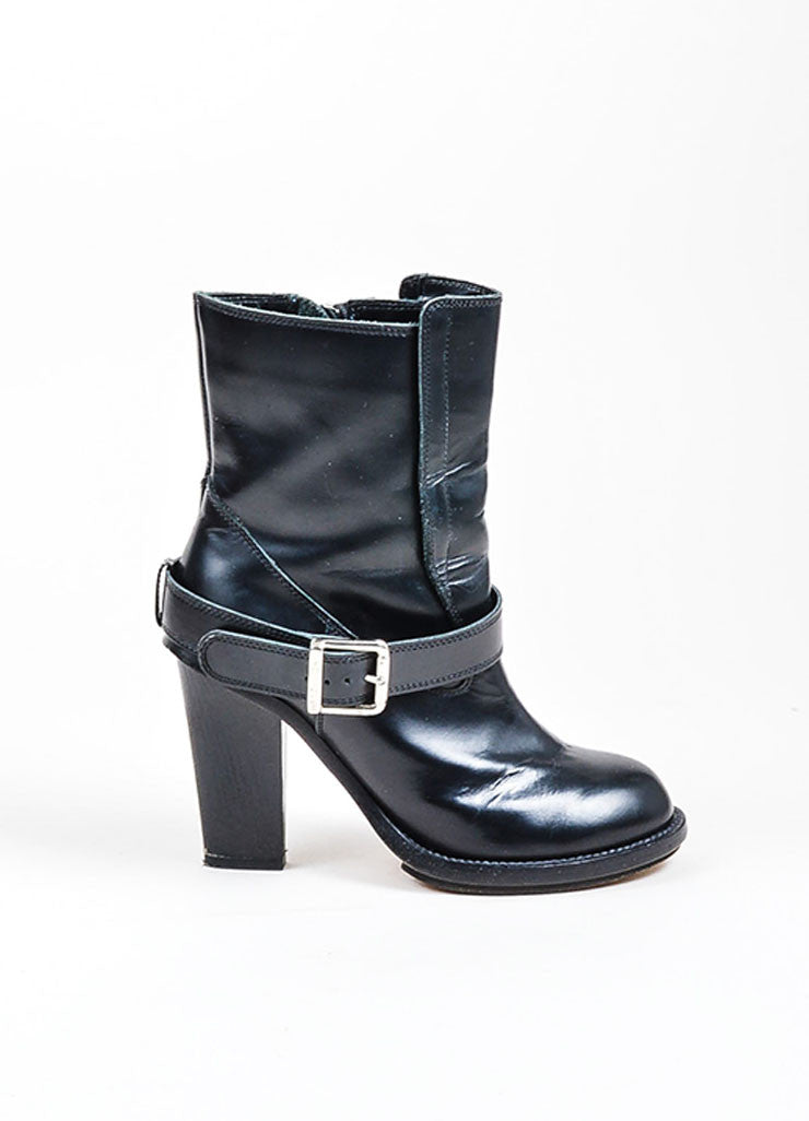 Black Chloe Zippered and Buckled Leather Heeled Moto Boots Sideview