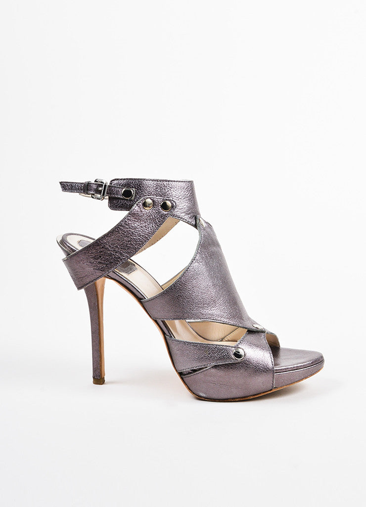 "Christian Dior Grey Leather Platform ""Extreme Dior"" Gladiator Sandals Sideview"